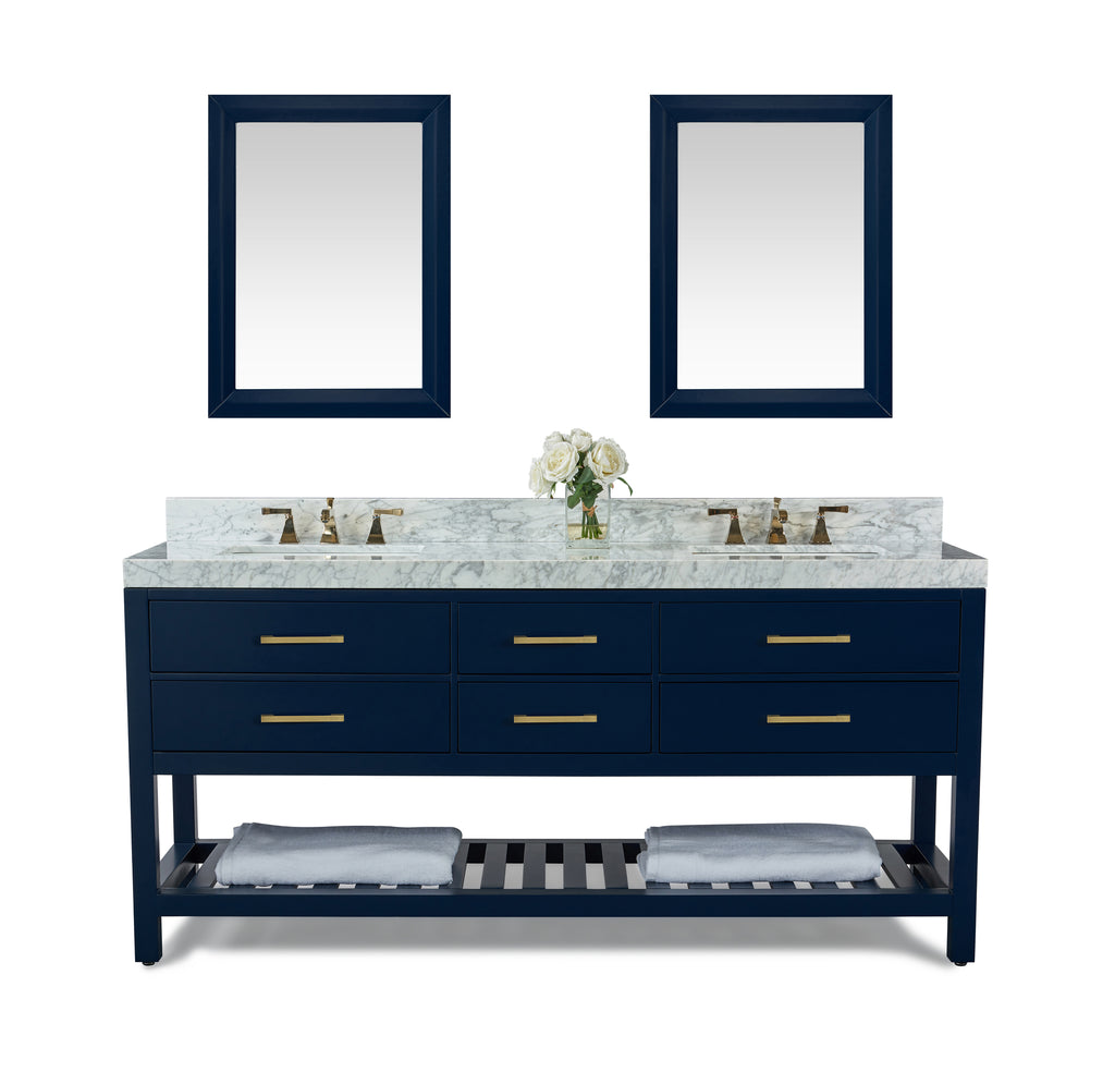 Elizabeth 72 in. Bath Vanity Set in Heritage Blue with 24 in. Mirrors