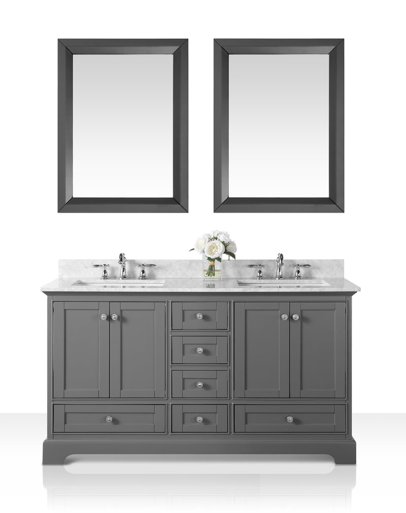 Audrey 60 in. Bath Vanity Set in Sapphire Gray with 24 in. Mirror