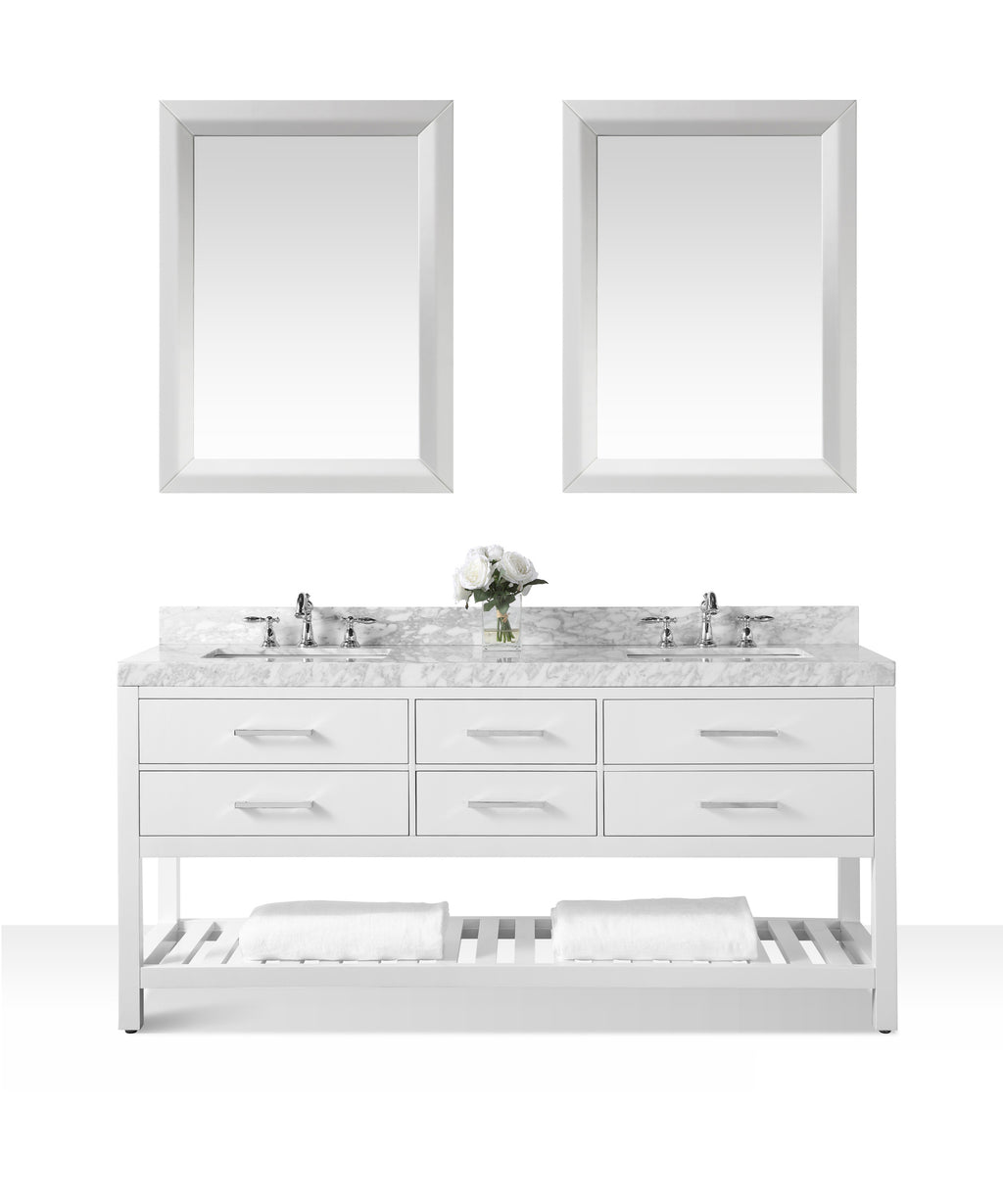 Elizabeth 72 in. Bath Vanity Set in White with 24 in. Mirror