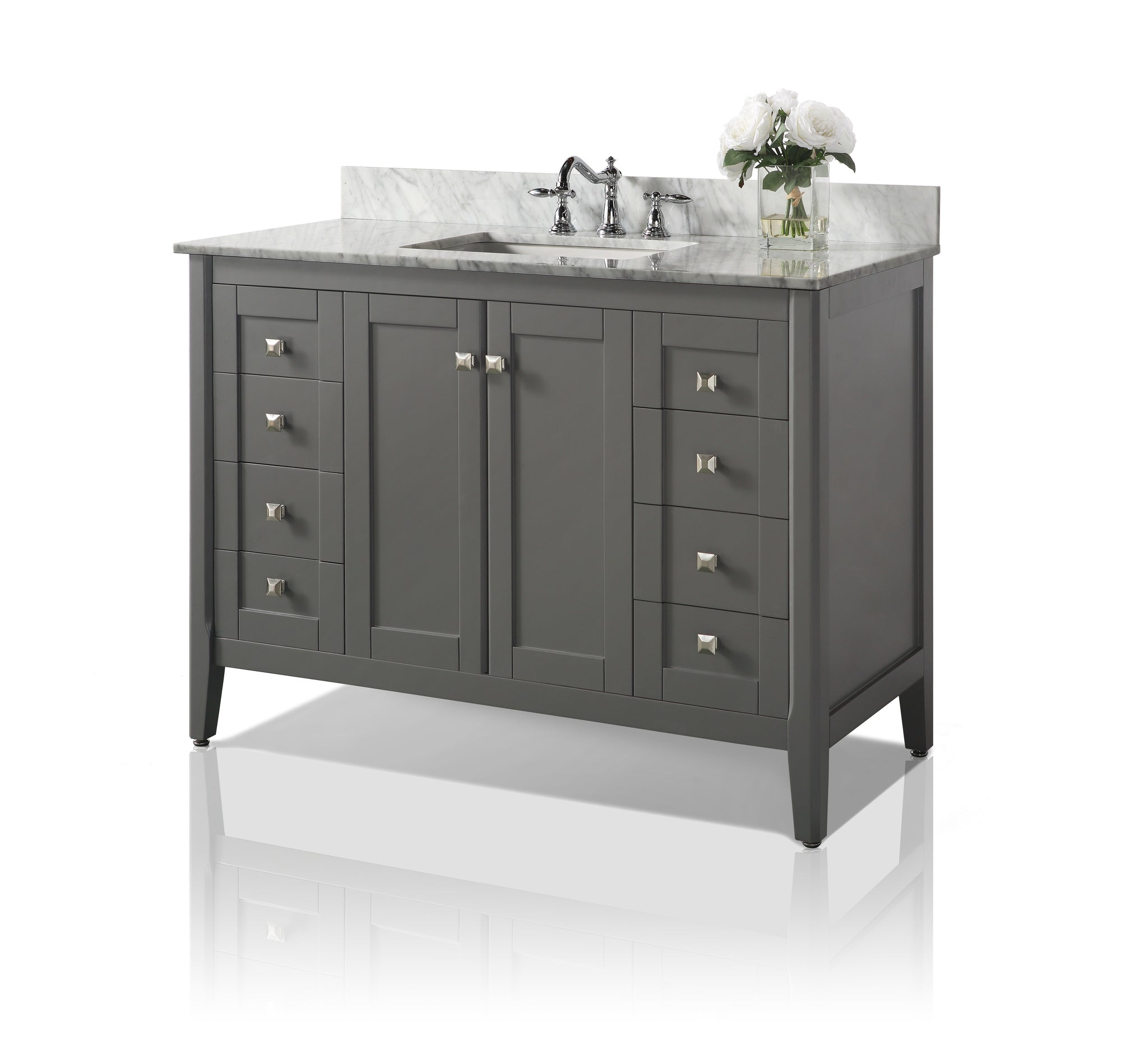 Shelton 48 in. Bath Vanity Set in Sapphire Gray with 28 in. Mirror