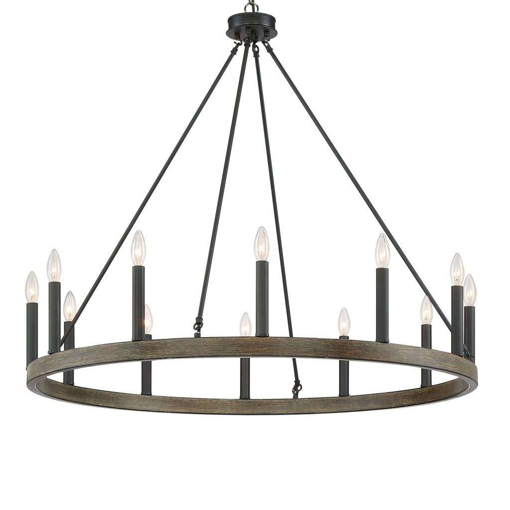 12 - Light Candle Style Wagon Wheel Chandelier