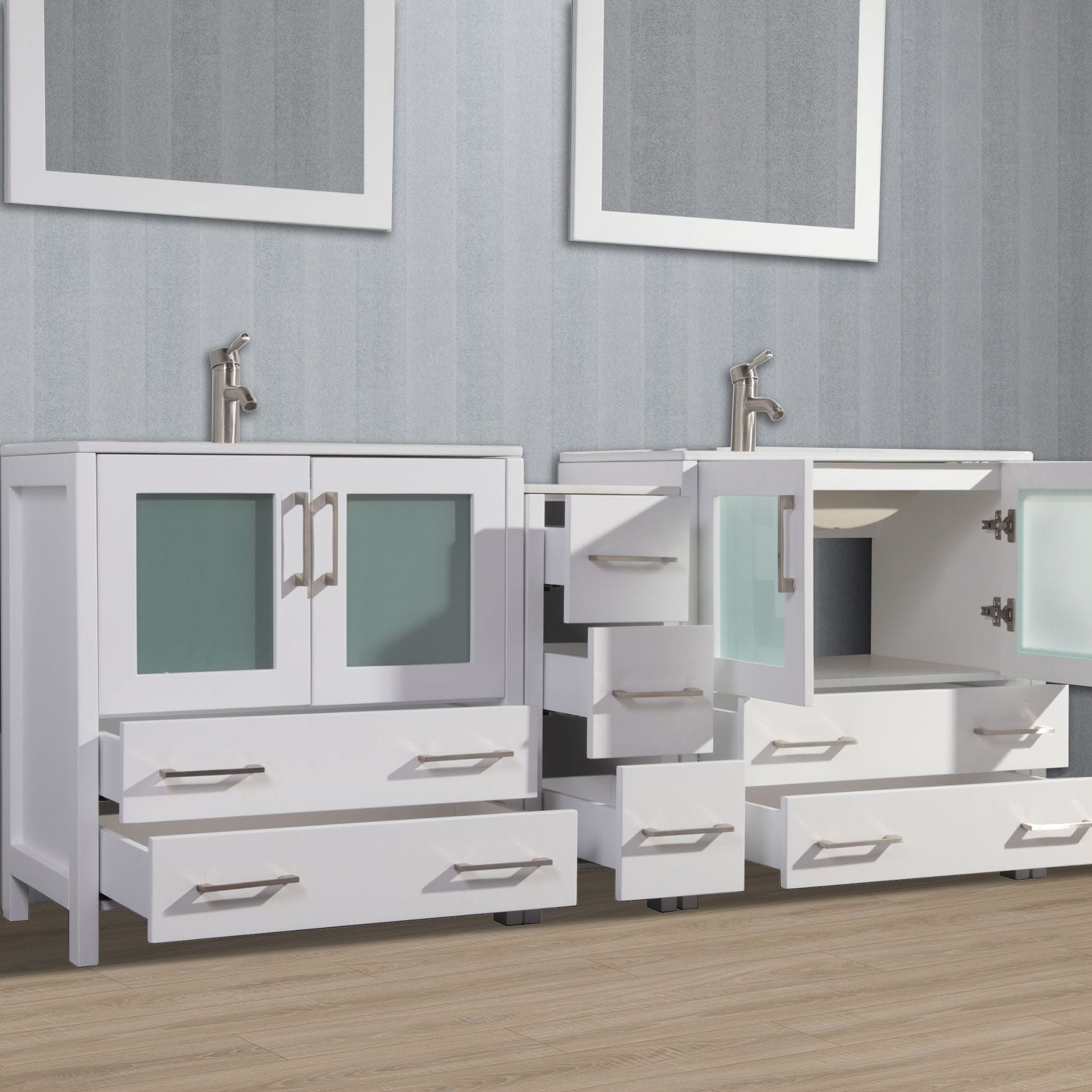 "72"" Double Sink Bathroom Vanity Set with Ceramic Vanity Top, White"