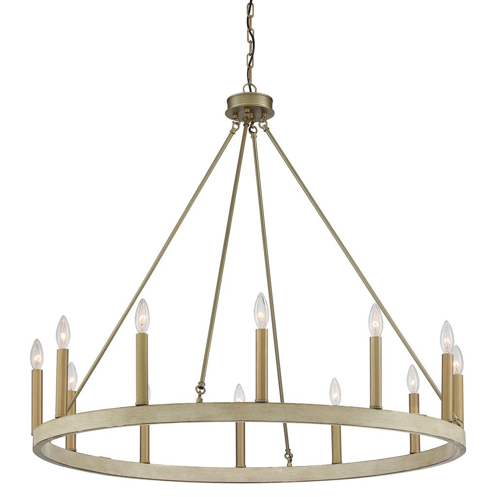 12 - Light Candle Style Wagon Wheel Chandelier, Whitewood Brassdust Black
