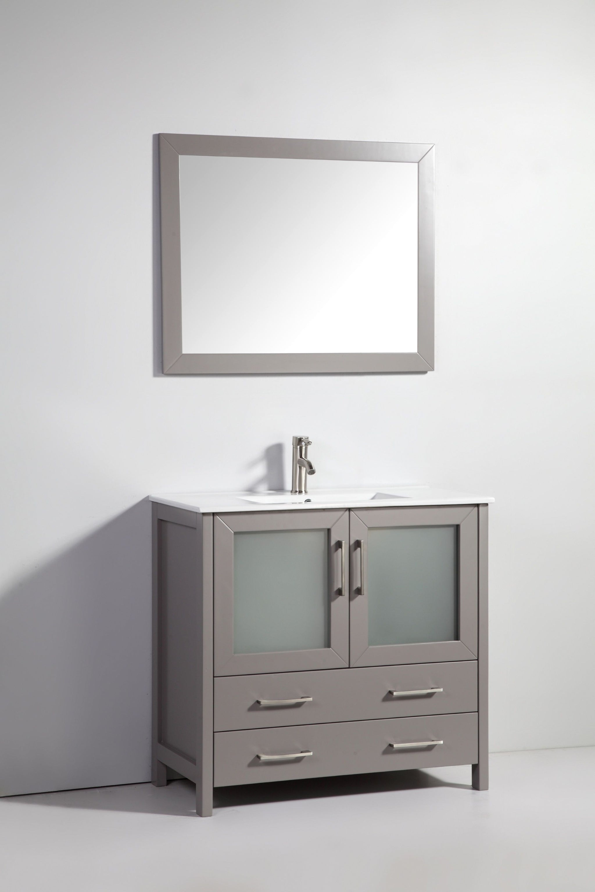 "36"" Single Sink Bathroom Vanity Set with Ceramic Vanity Top, Grey"