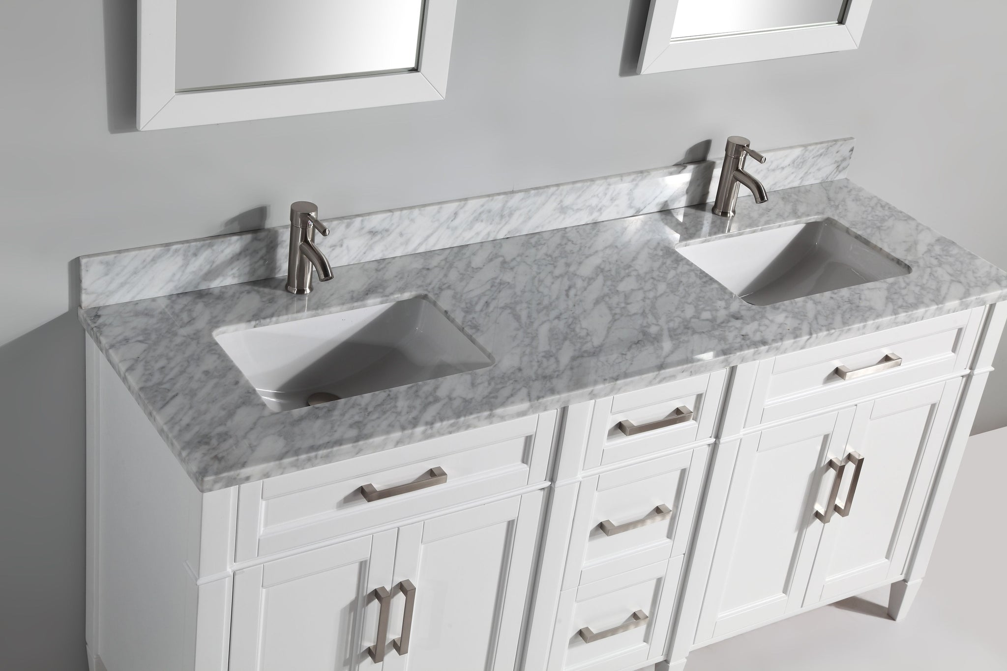 "72"" Single Sink Bathroom Vanity Set with Carrara Marble Vanity Top, White"