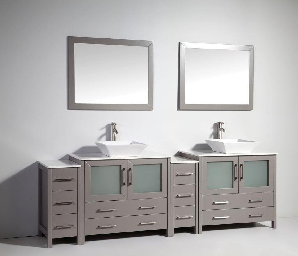 "96"" Double Sink Bathroom Vanity Set with Ceramic Vanity Top, Grey"
