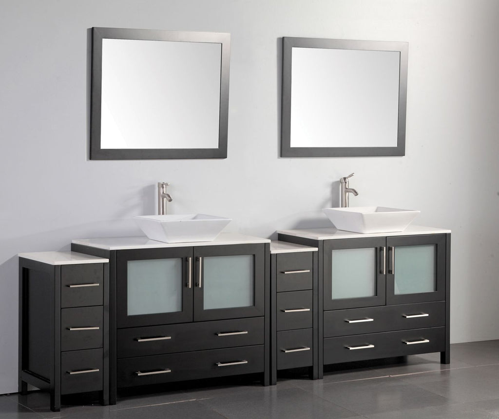 "96"" Double Sink Bathroom Vanity Set with Ceramic Vanity Top, Espresso"