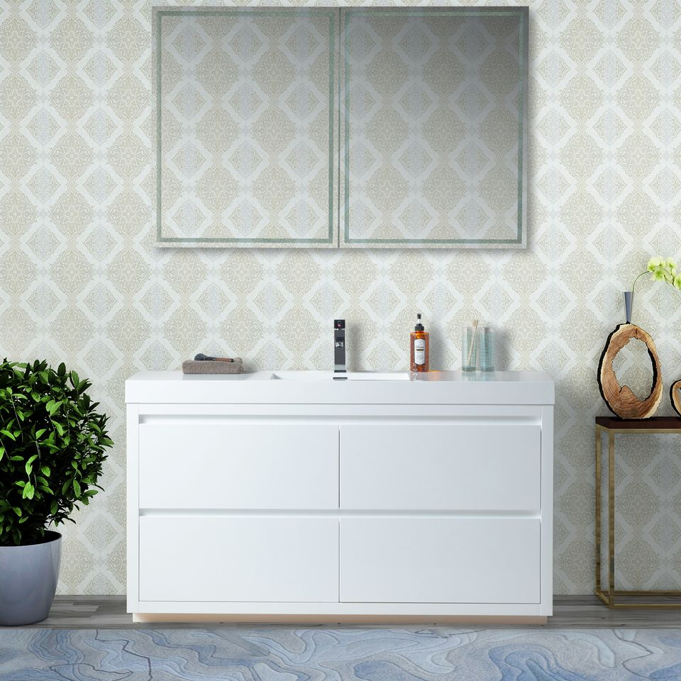 "60"" Single Sink Bathroom Vanity With Resin Top, White Finish"