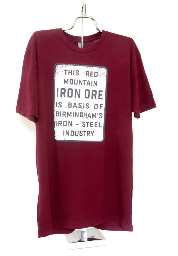 Iron Ore Sign Short Sleeve T-Shirt Adult Maroon