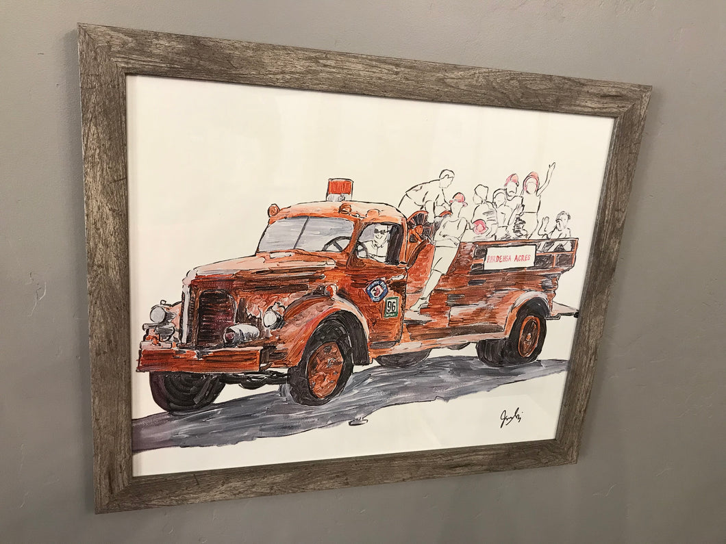 Fire Truck Painting by Jackie Stocking (With Frame)