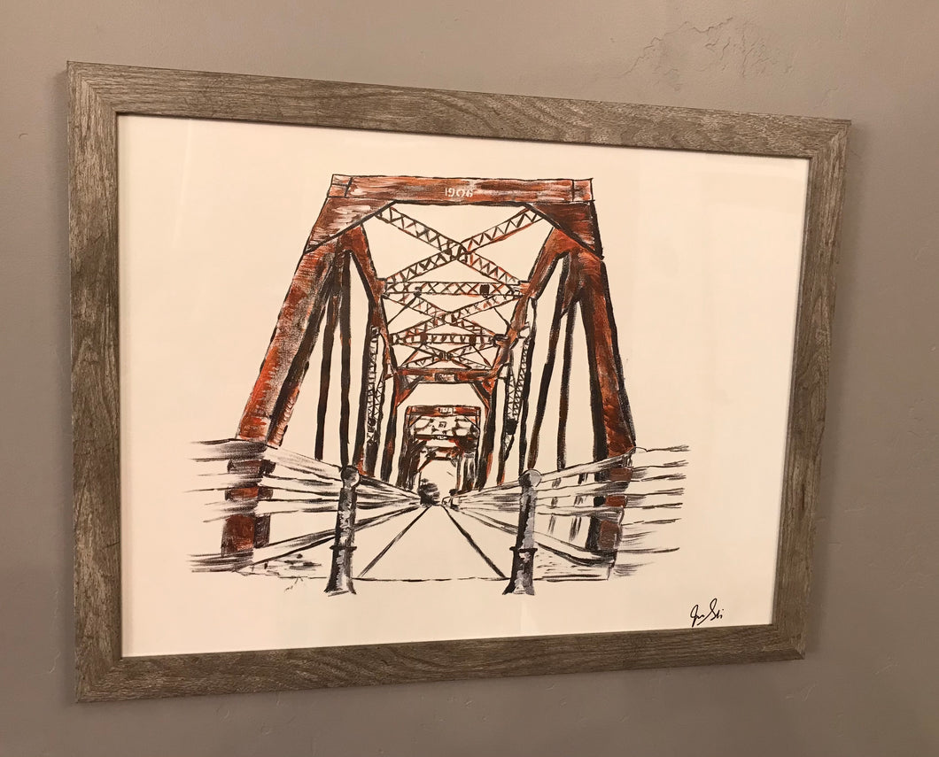 Bridge Painting by Jackie Stocking (With Frame)