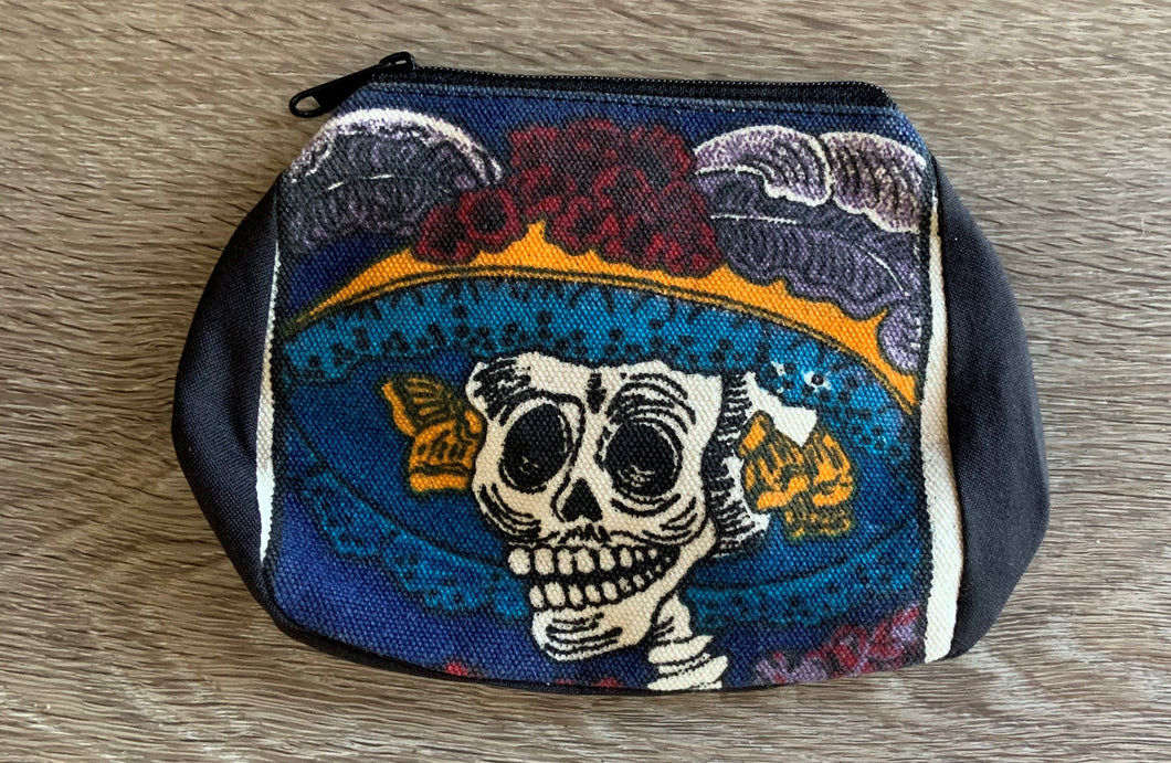 Kulture Skeleton Zipper Change Purse -Lady Skelton Black
