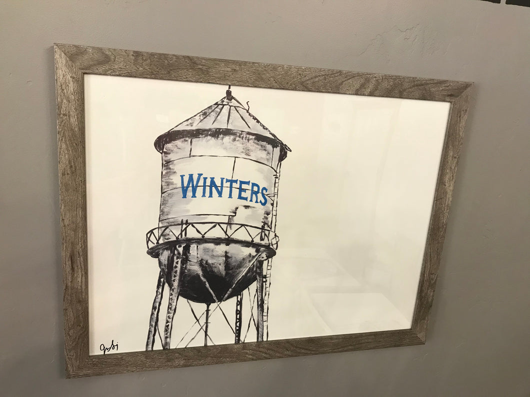 Water Tower Painting by Jackie Stocking (With Frame)
