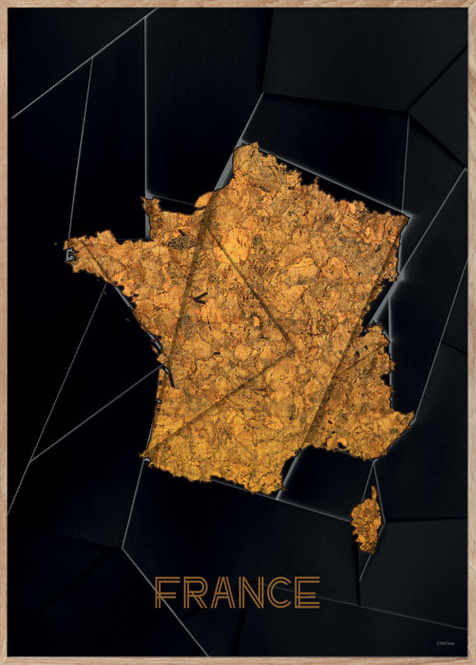 Maps France - 50x70cm - Black / Golden