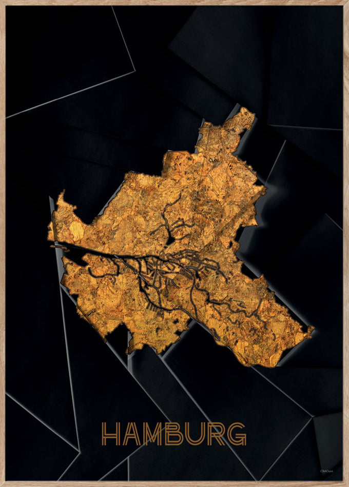 Maps Hamburg - 50x70cm - Black / Golden