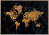 Maps Our World - 50x70cm - Black / Golden