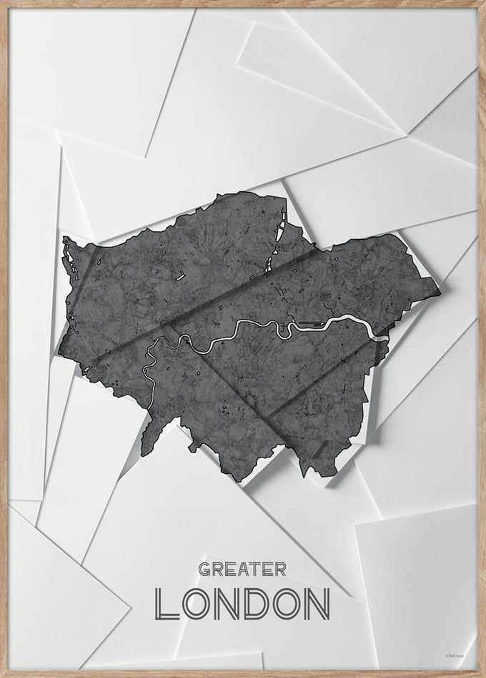 Maps Greater London - 50x70cm - White / Grey