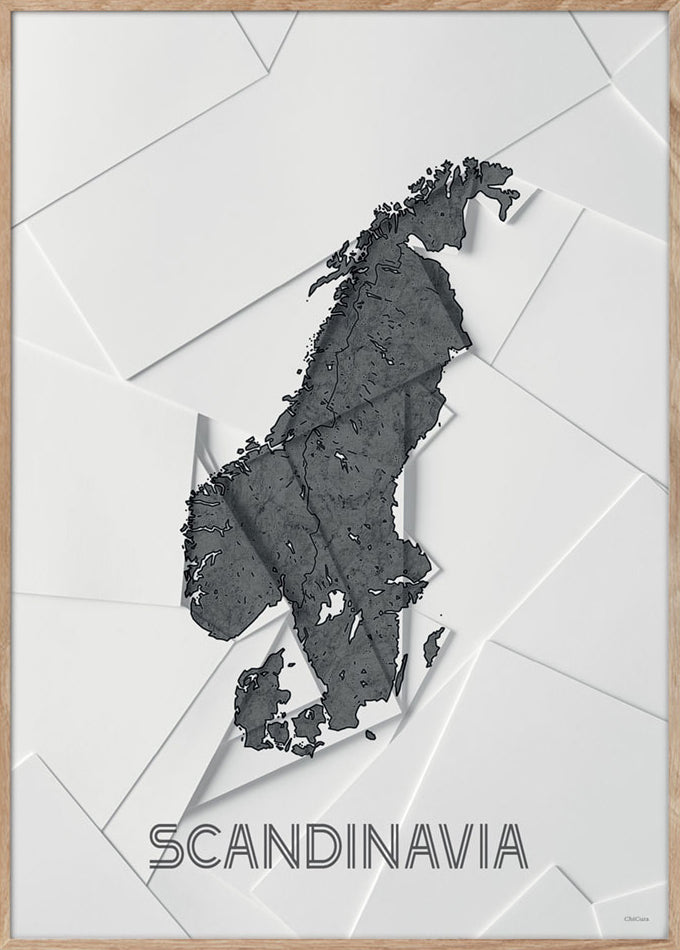 Maps Scandinavia - 50x70cm - White / Grey