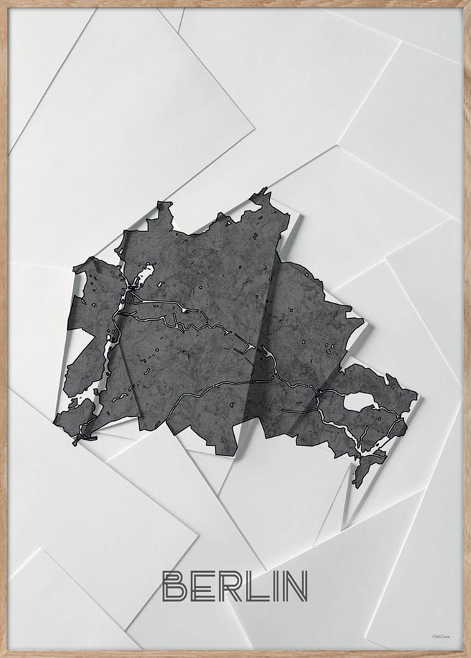 Maps Berlin - 50x70cm - White / Grey