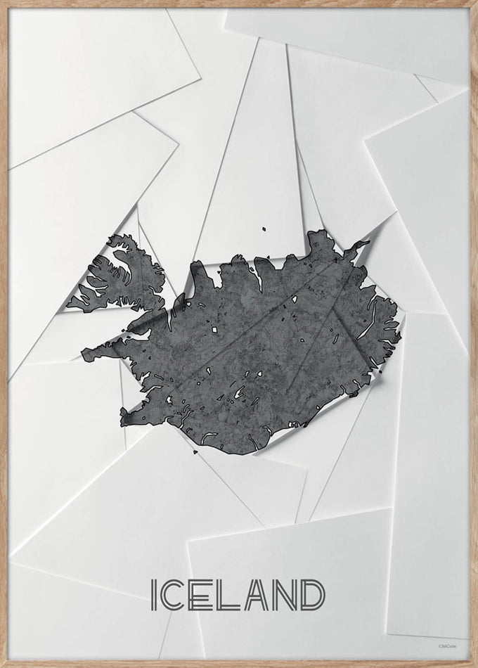 Maps Iceland - 50x70cm - White / Grey
