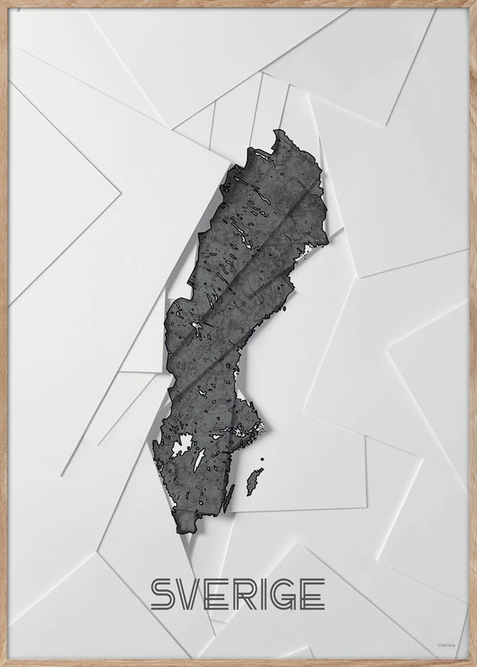 Maps Sverige - 50x70cm - White / Grey