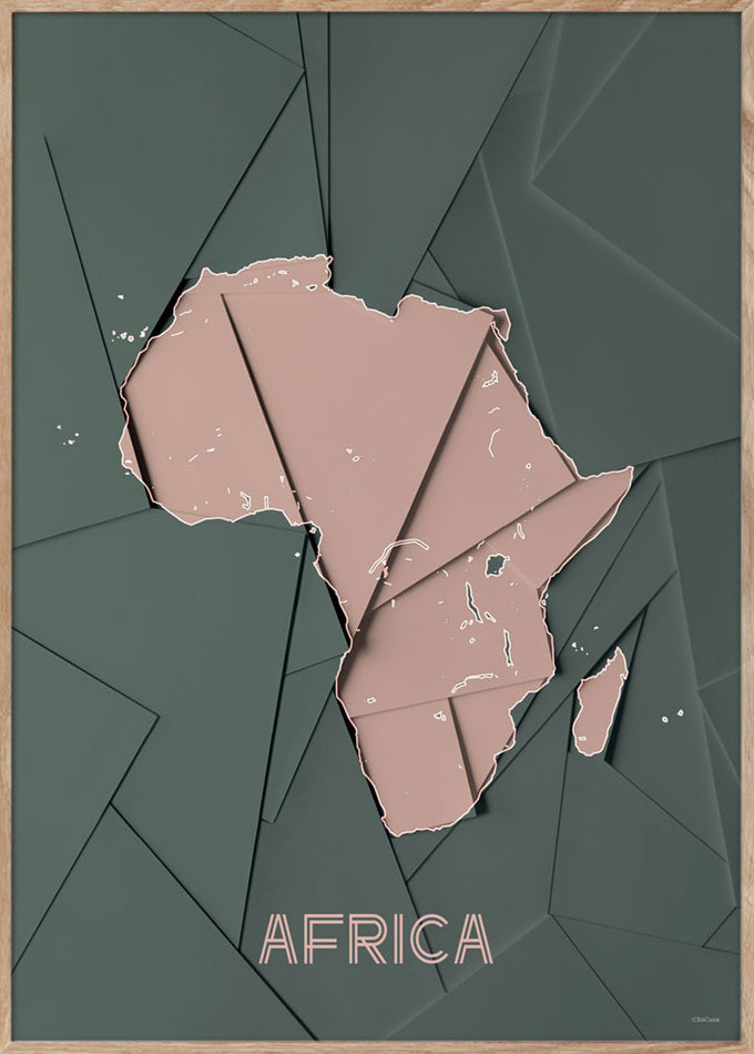 Maps Africa - 50x70cm - Green / Rose