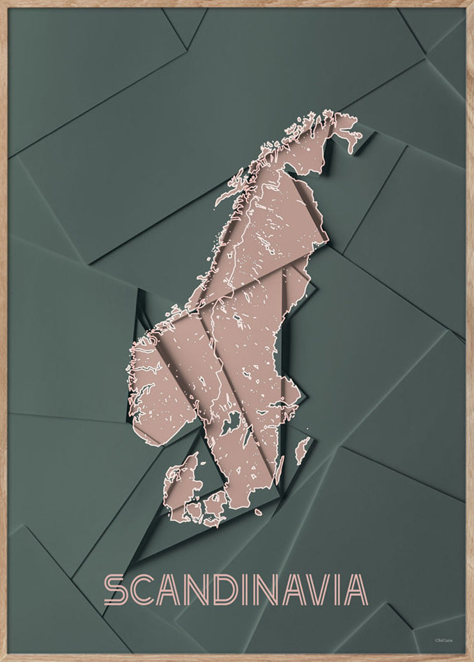 Maps Scandinavia - A5 - Green / Rose