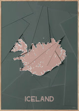 Maps Iceland - A5 - Green / Rose