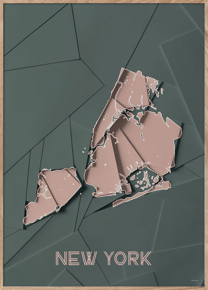 Maps New York - 50x70cm - Green / Rose