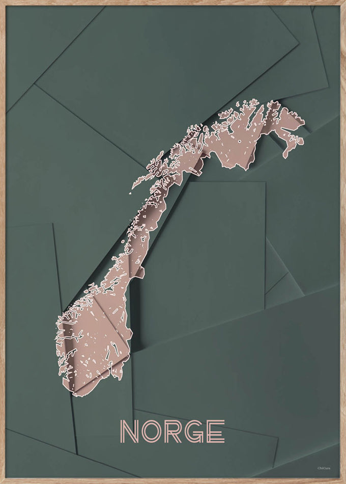 Maps Norge - 50x70cm - Green / Rose