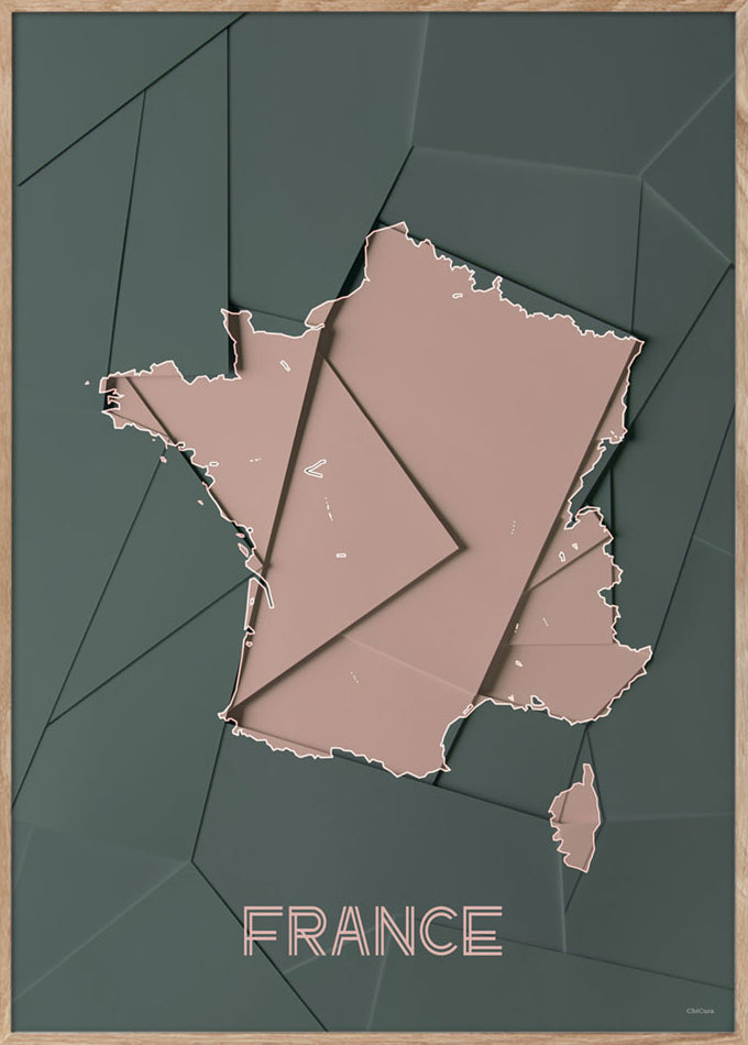 Maps France - A3 - Green / Rose