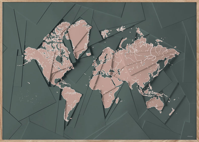 Maps Our World - 50x70cm - Green / Rose
