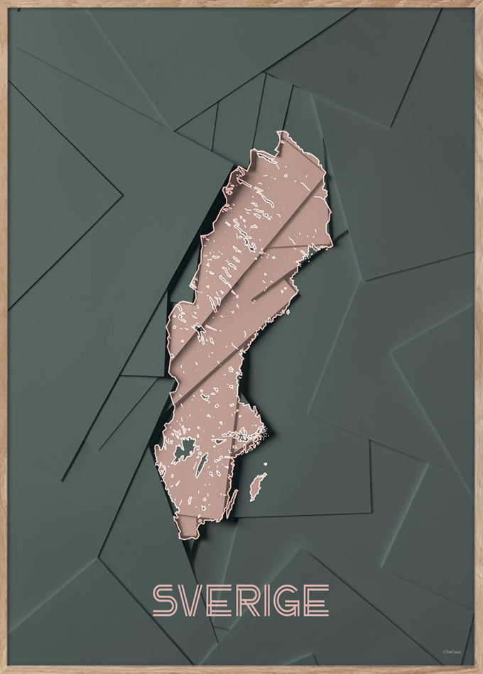Maps Sverige - 50x70cm - Green / Rose