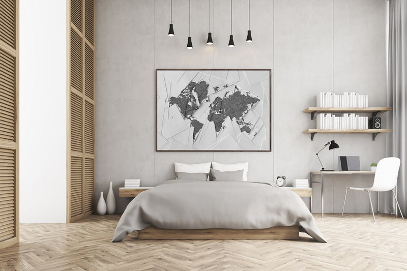 Maps Our World, 70x100cm - Grey / White