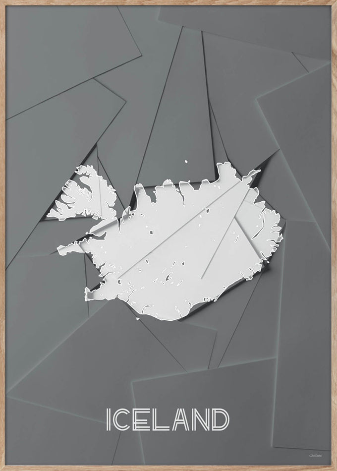 Maps Iceland - 50x70cm - Grey / White