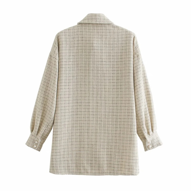 ZXQJ Tweed Women's Vintage Oversize Long Shirts - The Merchant Prince