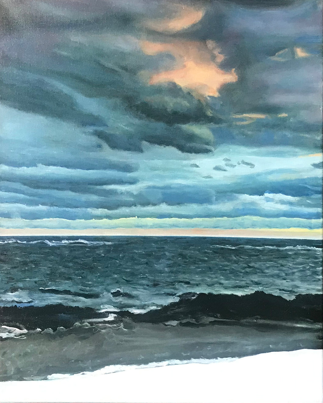 Winter Sunset - Biddeford Pool.....oil on linen - 16