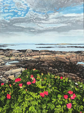 "Load image into Gallery viewer, Beach Rose Sunset - Maine.....oil on linen - 30"" x 40"" - 2020"