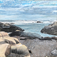 "Load image into Gallery viewer, Biddeford Pool Rocks - Maine.....oil on canvas - 48"" x 48"" - 2020"