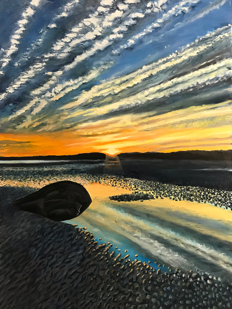Sunset - Goose Rocks Beach - Maine...........oil on linen - 30