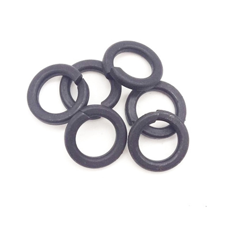 100Pcs DIN127 M2 M2.5 M3 M4 M5 M6 M8 Carbon Steel Shells Pad Black Spring Lock Washer Car Elastic Gasket GB93