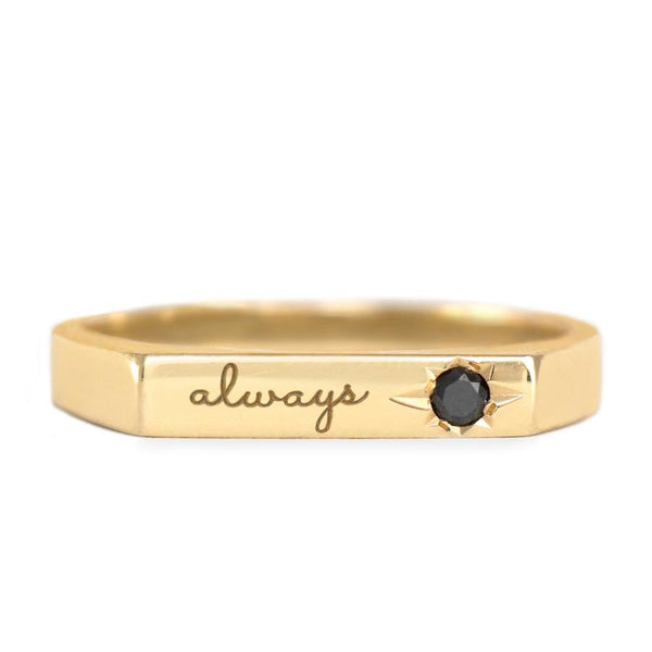 engraved charlotte ring with black diamond