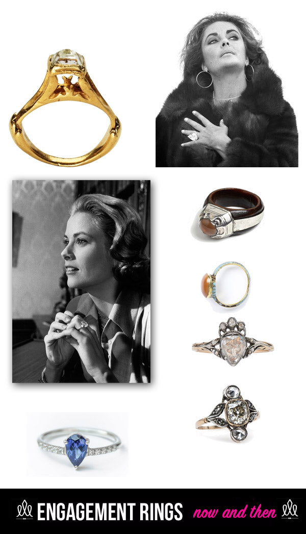 images from top left clockwise roman diamond ring 3rd 4th century ad elizabeth taylor wearing a gigantic diamond 1500 1700 engagement ring antique - Elizabeth Taylor Wedding Ring