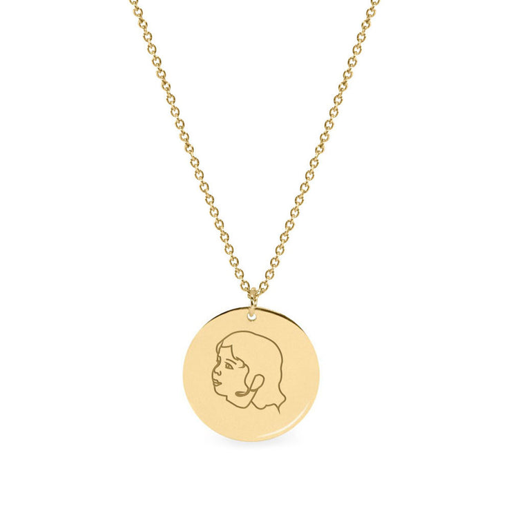 Chiara Gold Necklace 16mm + Portrait & Name Engraving