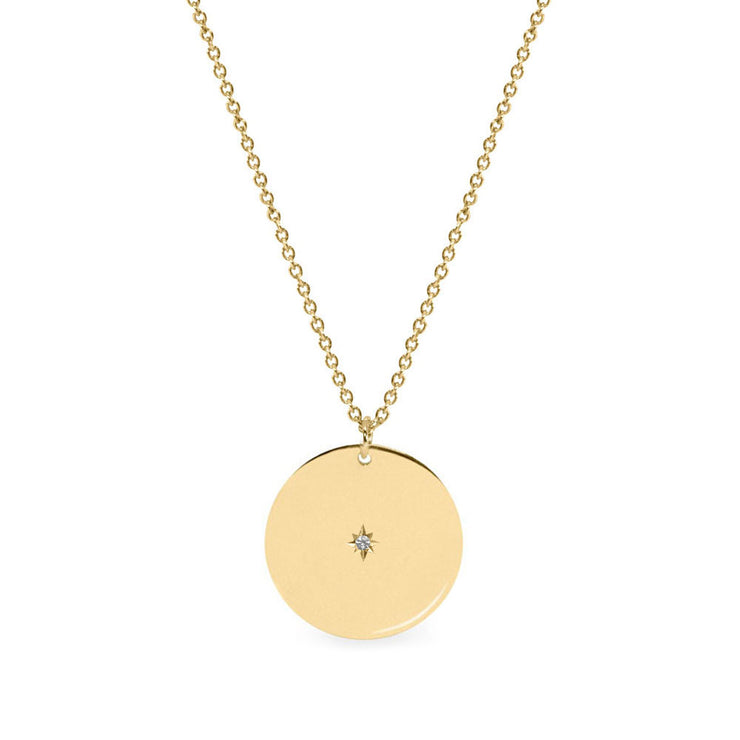 Chiara Gold Necklace 16mm with Center Diamond Star Setting