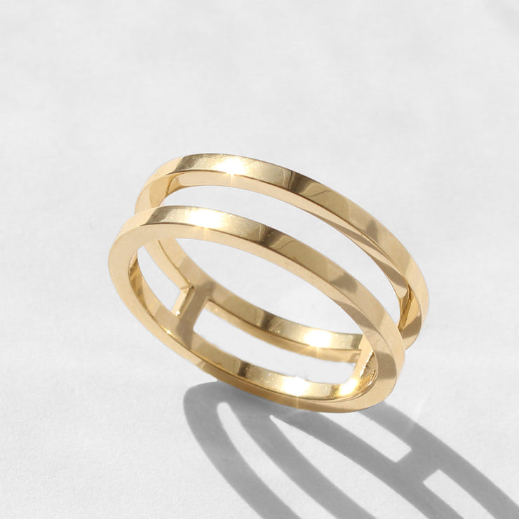 Ora double gold ring