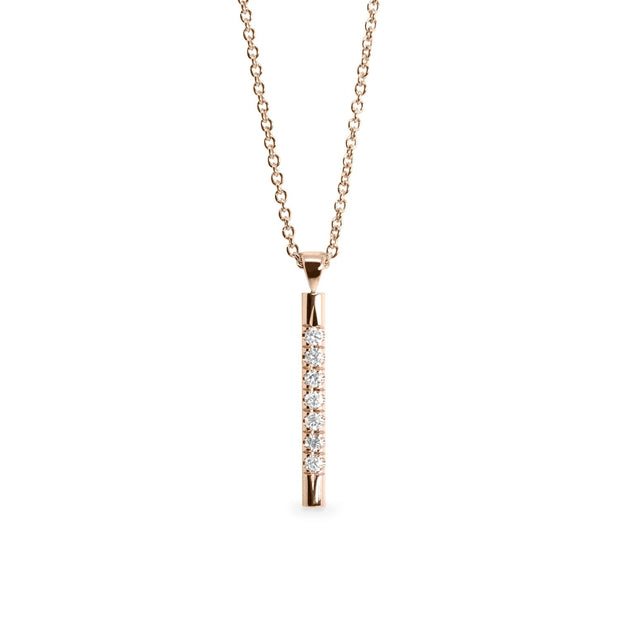 rose gold bar necklace with white diamonds
