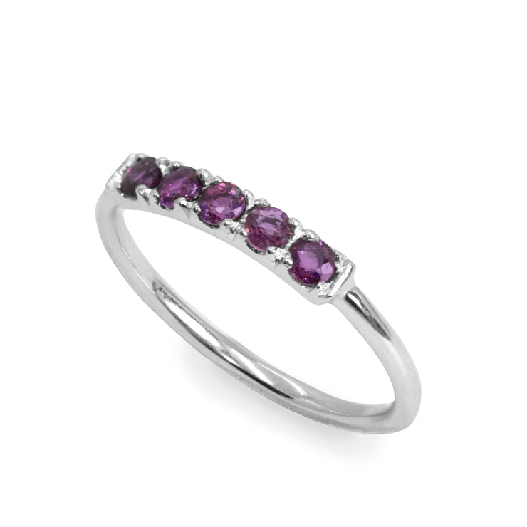 white gold ring with amethyst gems