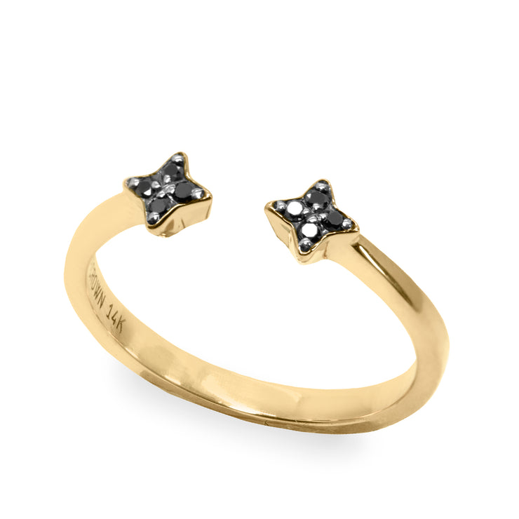 star shaped open ring with black diamonds
