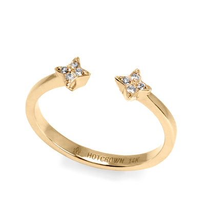 yellow gold star shaped open ring
